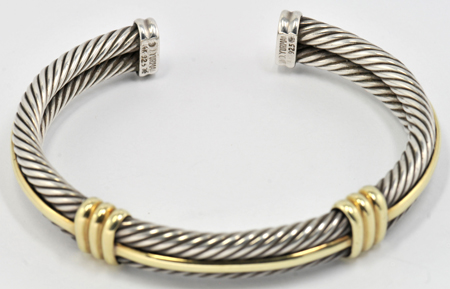 14K Yellow Gold 2 cttw Round-Cut-Diamond bangle-bracelets Size 7 inches HallMarked IJ| SI